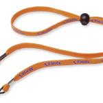 orangefarbenes Brillenband mit Werbeaufdruck